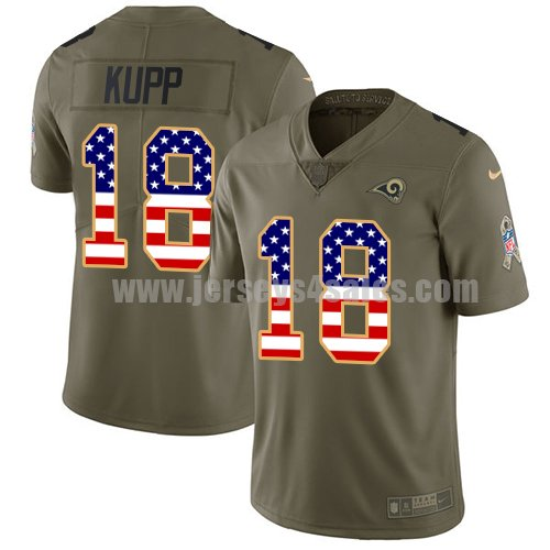 Nike Los Angeles Rams #18 Cooper Kupp Olive/USA Flag Men's Stitched NFL Limited 2017 Salute To Service Jersey