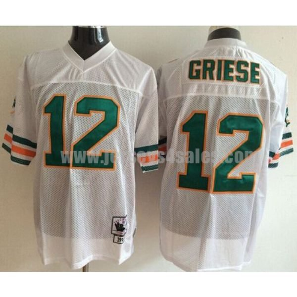 Mitchell And Ness Dolphins #12 Bob Griese White Throwback Stitched NFL Jerseys