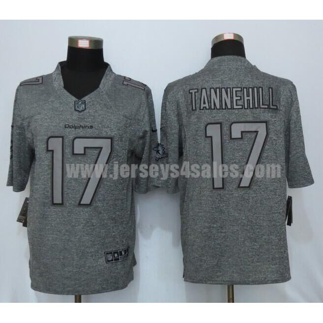 Men's Miami Dolphins #17 Ryan Tannehill Grey Stitched Nike NFL Gridiron Gray Limited Jersey