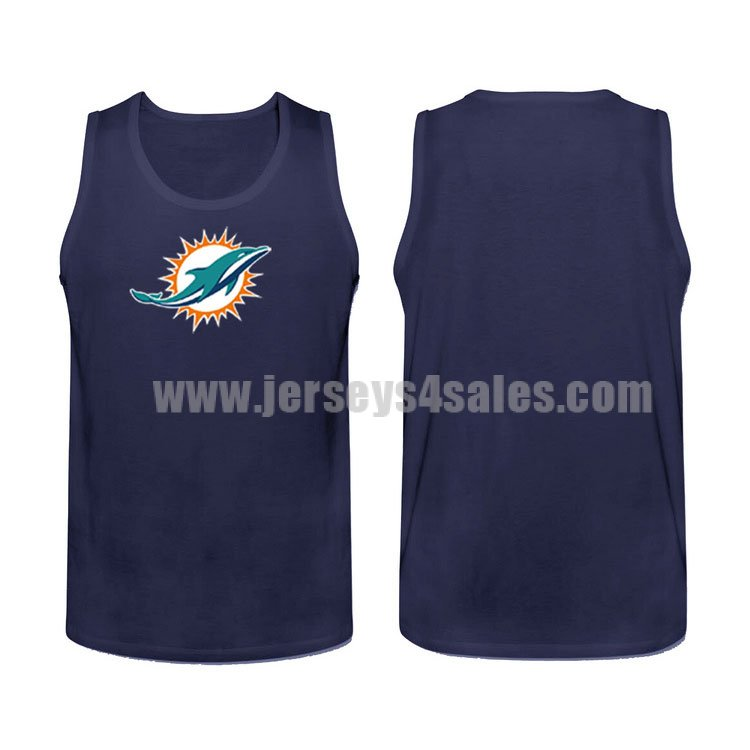 Men's Miami Dolphins Cotton Team Nike NFL Navy Blue Tank Top