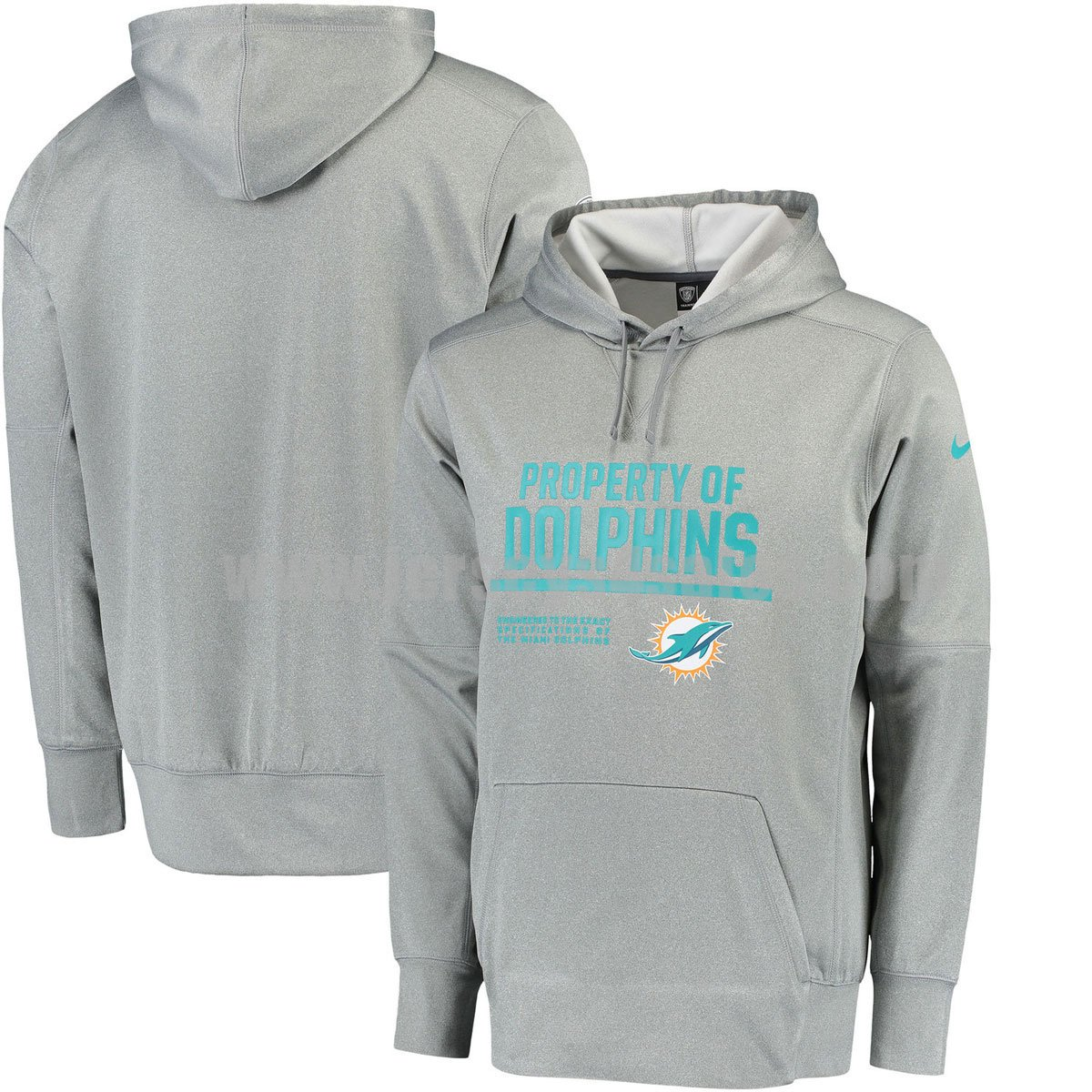 Men's Miami Dolphins Grey Nike Circuit Property Of Performance NFL Pullover Hoodie