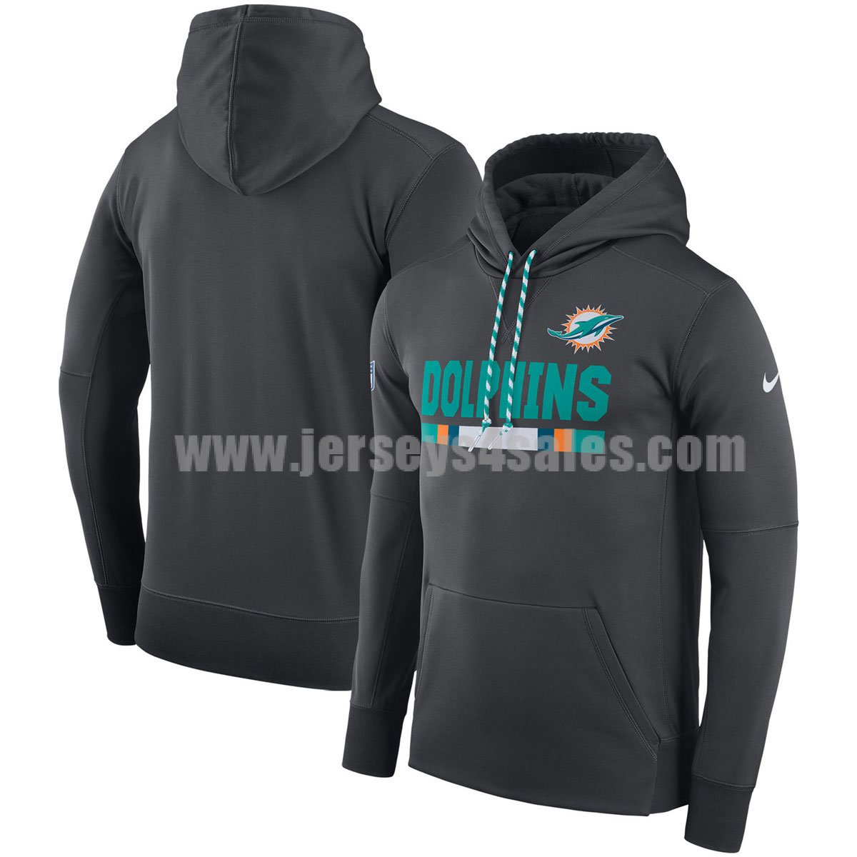 Men's Miami Dolphins Charcoal Nike Sideline Team Name Performance Pullover NFL Hoodie
