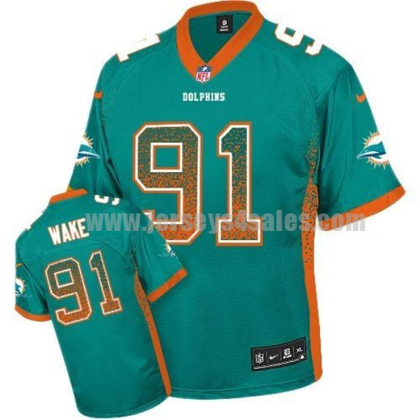 Nike Dolphins #91 Cameron Wake Aqua Green Team Color Men's Stitched NFL Elite Drift Fashion Jersey