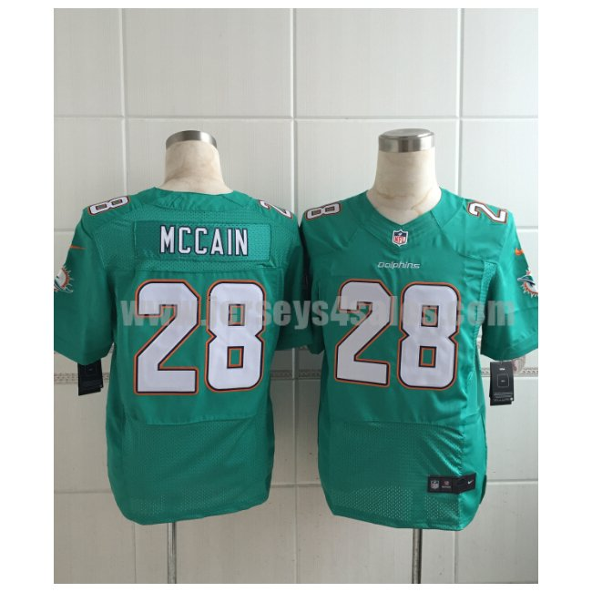 Men's Miami Dolphins #28 Bobby McCain Green Team Color Stitched Nike NFL Elite Jersey