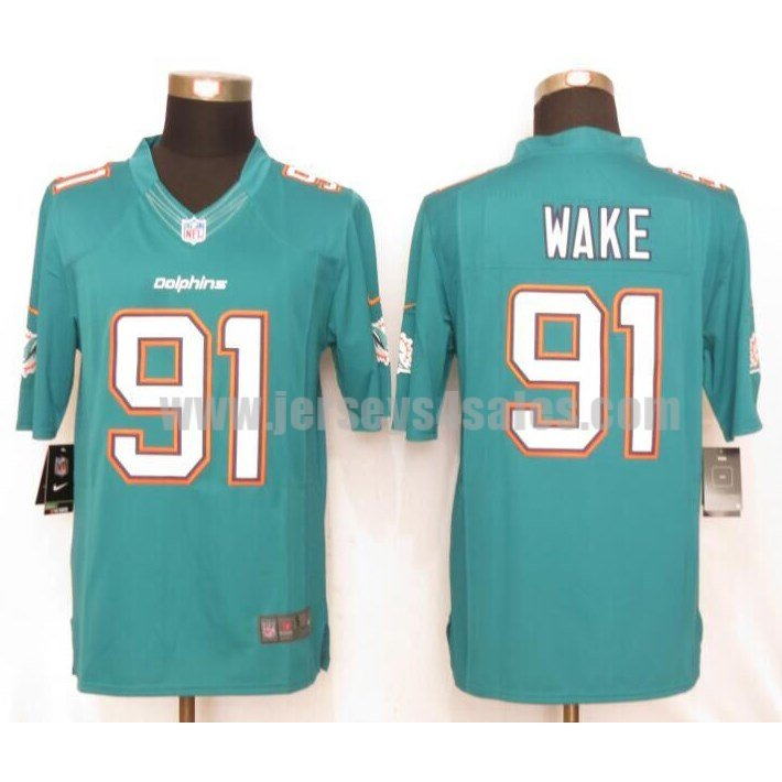 Men's Miami Dolphins #91 Cameron Wake Aqua Green Stitched Nike NFL Home Limited Jersey