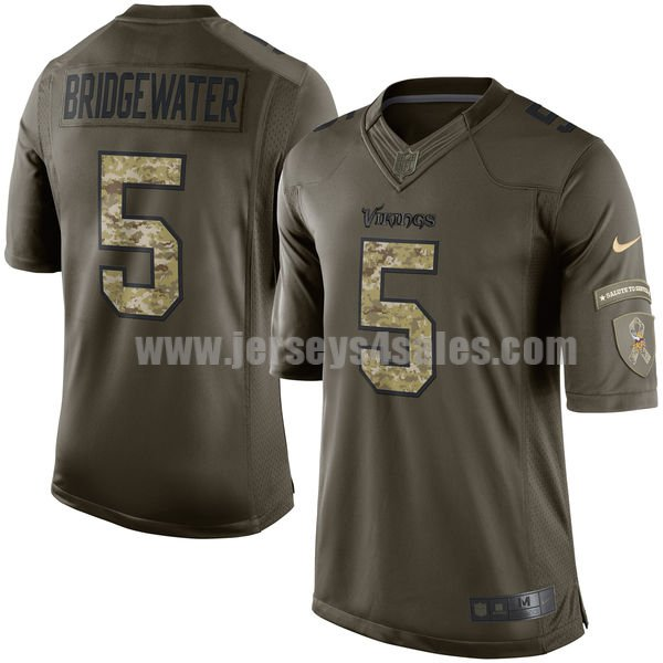 Men's Minnesota Vikings #5 Teddy Bridgewater Green Stitched Nike NFL Salute To Service Limited Jersey