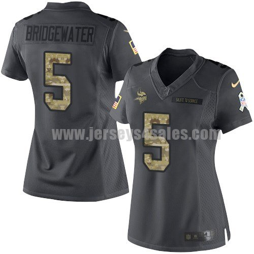 Women's Minnesota Vikings #5 Teddy Bridgewater Anthracite Stitched Nike NFL 2016 Salute To Service Limited Jersey