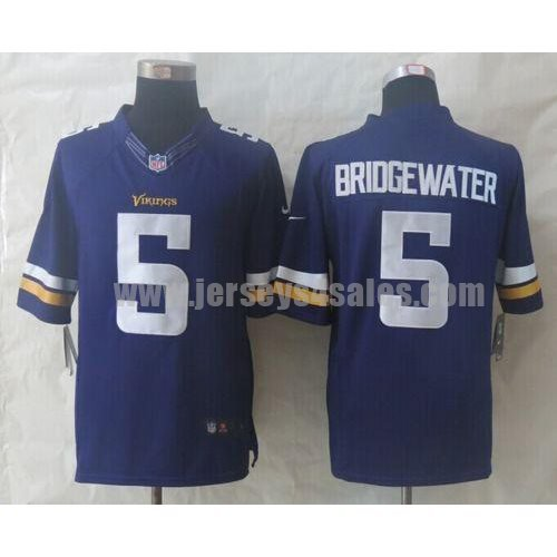 Nike Vikings #5 Teddy Bridgewater Purple Team Color Men's Stitched NFL Limited Jersey