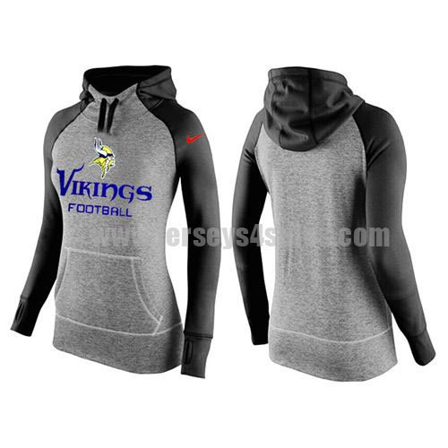 Women's Minnesota Vikings Grey/Black All Time Performance NFL Hoodie