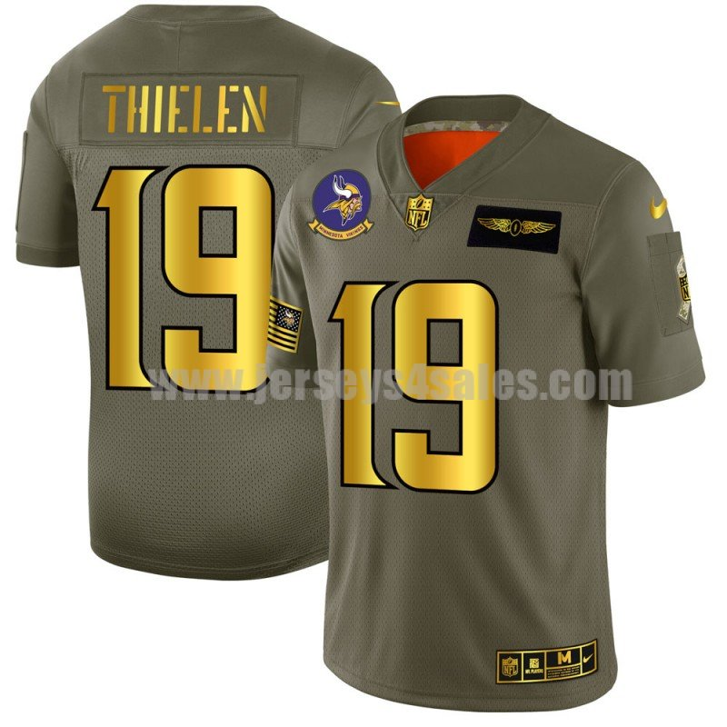Men's Minnesota Vikings #19 Adam Thielen Nike Olive/Gold 2019 Salute to Service Limited Jersey