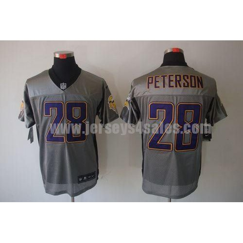 Nike Vikings #28 Adrian Peterson Grey Shadow Men's Stitched NFL Elite Jersey
