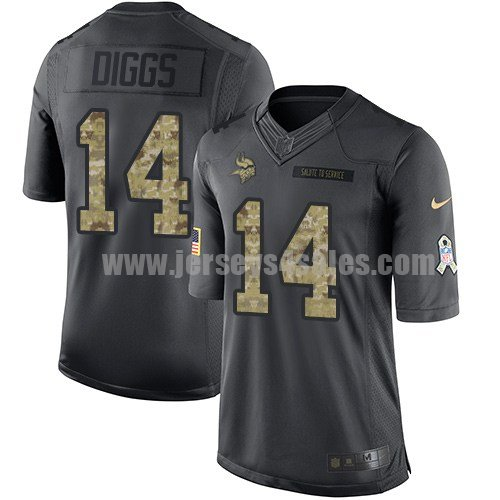 Men's Minnesota Vikings #14 Stefon Diggs Anthracite Stitched Nike NFL 2016 Salute To Service Limited Jersey