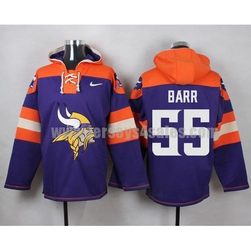Men's Minnesota Vikings #55 Anthony Barr Big Logo Print Lace-Up NFL Hoodie - Purple