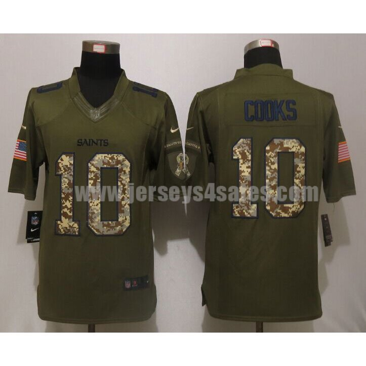 Men's New Orleans Saints #10 Brandin Cooks Green Stitched Nike NFL Salute To Service Limited Jersey