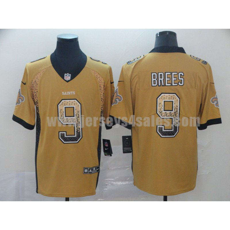 Men's New Orleans Saints #9 Drew Brees Yellow Stitched Nike NFL Color Rush Limited Jersey