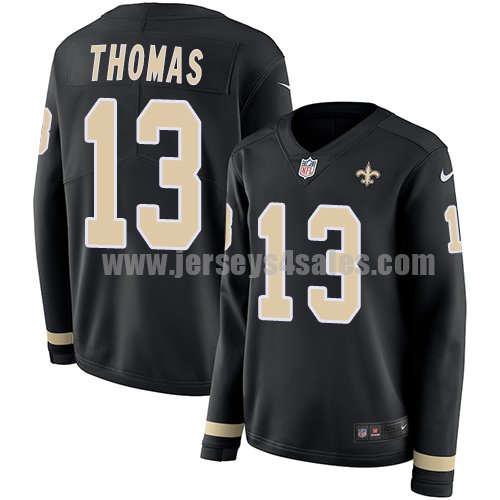 Nike New Orleans Saints #13 Michael Thomas Black Team Color Women's Stitched NFL Limited Therma Long Sleeve Jersey