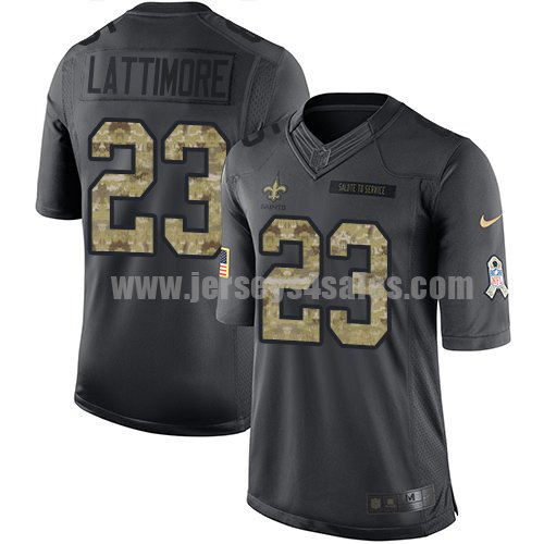 Nike New Orleans Saints #23 Marshon Lattimore Black Youth Stitched NFL Limited 2016 Salute to Service Jersey