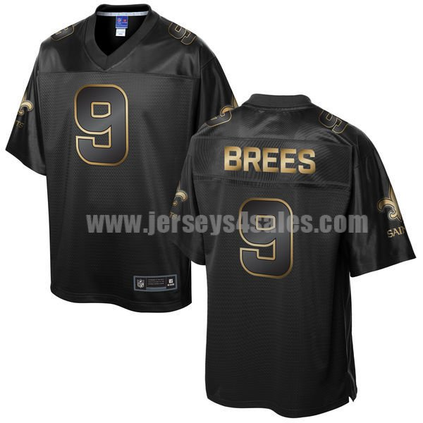 Men's New Orleans Saints #9 Drew Brees Black NFL Pro Line Gold Collection Jersey