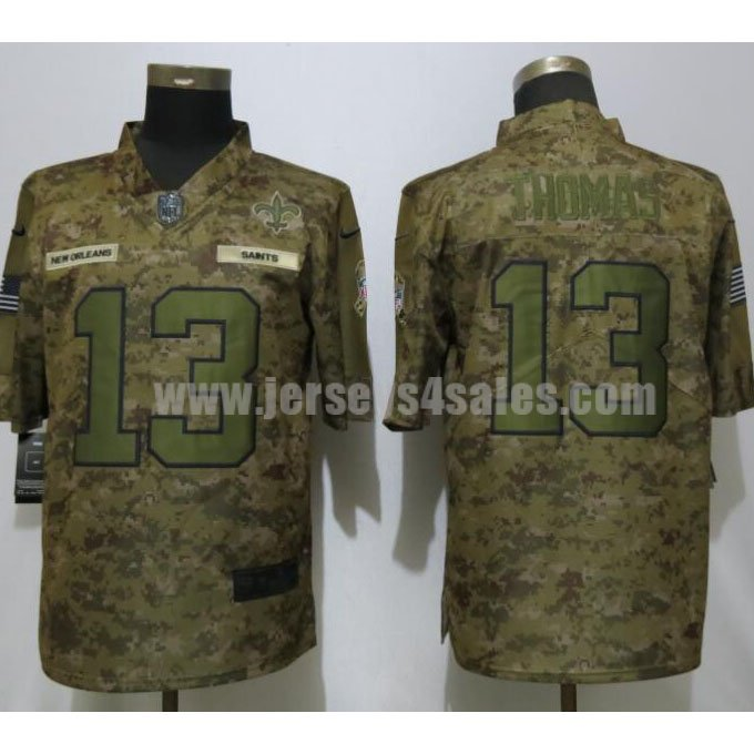 Men's New Orleans Saints #13 Michael Thomas Nike Camo Salute To Service Retired Player Limited Jersey