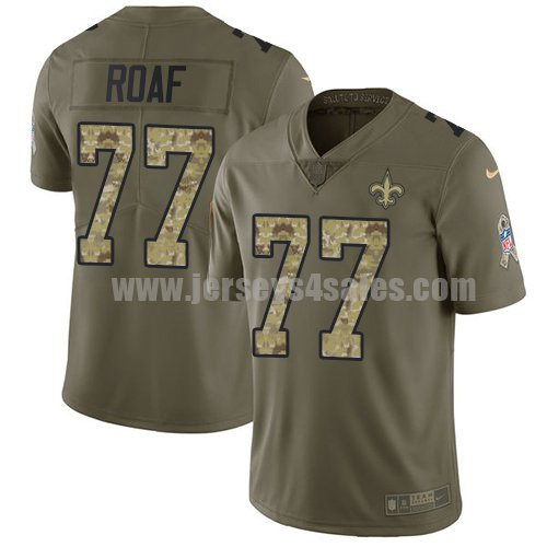 Nike New Orleans Saints #77 Willie Roaf Olive/Camo Men's Stitched NFL Limited 2017 Salute To Service Jersey