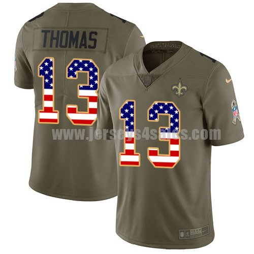 Nike New Orleans Saints #13 Michael Thomas Olive/USA Flag Youth Stitched NFL Limited 2017 Salute to Service Jersey