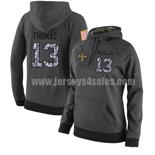 NFL Women's Nike New Orleans Saints #13 Michael Thomas Stitched Black Anthracite Salute to Service Player Performance Hoodie