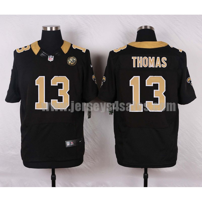 Men's New Orleans Saints #13 Michael Thomas Black 50TH Anniversary Stitched Nike NFL Home Elite Jersey