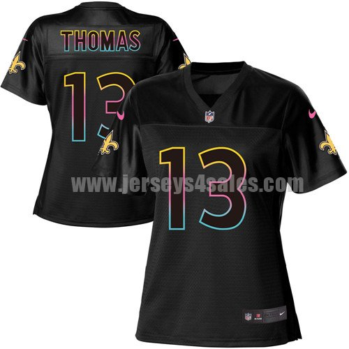 Nike New Orleans Saints #13 Michael Thomas Black Women's NFL Fashion Game Jersey