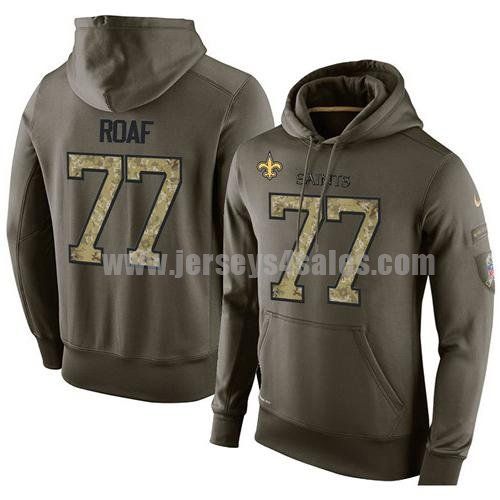 NFL Men's Nike New Orleans Saints #77 Willie Roaf Stitched Green Olive Salute To Service KO Performance Hoodie