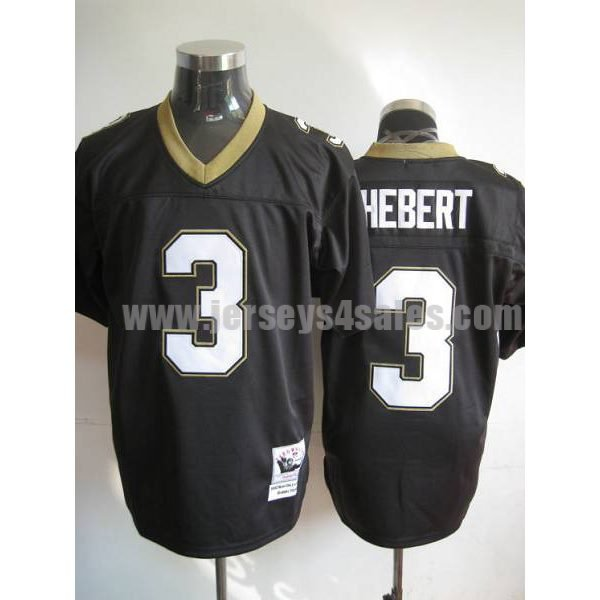 Mitchell And Ness Saints #3 Bobby Hebert Black Stitched Throwback NFL Jersey