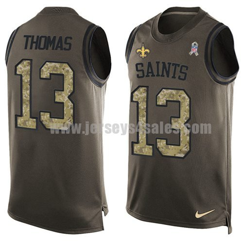 Nike New Orleans Saints #13 Michael Thomas Green Men's Stitched NFL Limited Salute To Service Tank Top Jersey