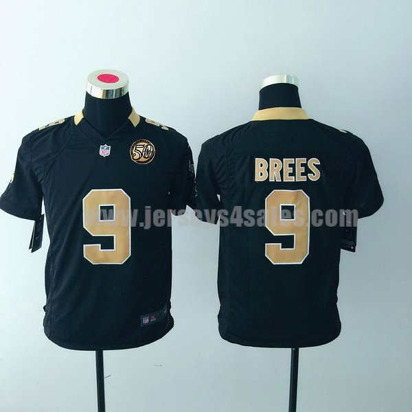 Youth New Orleans Saints #9 Drew Brees Black 50TH Anniversary Nike Home Game Jersey