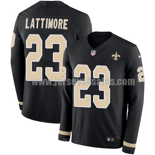 Nike New Orleans Saints #23 Marshon Lattimore Black Team Color Men's Stitched NFL Limited Therma Long Sleeve Jersey
