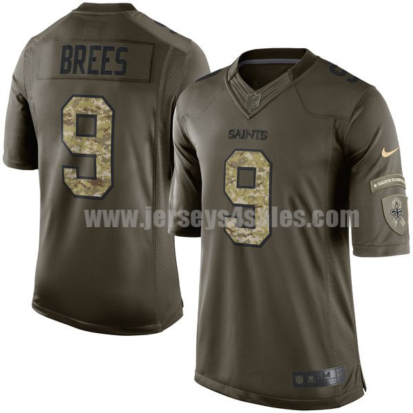 Youth New Orleans Saints #9 Drew Brees Green Stitched Nike NFL Salute To Service Elite Jersey