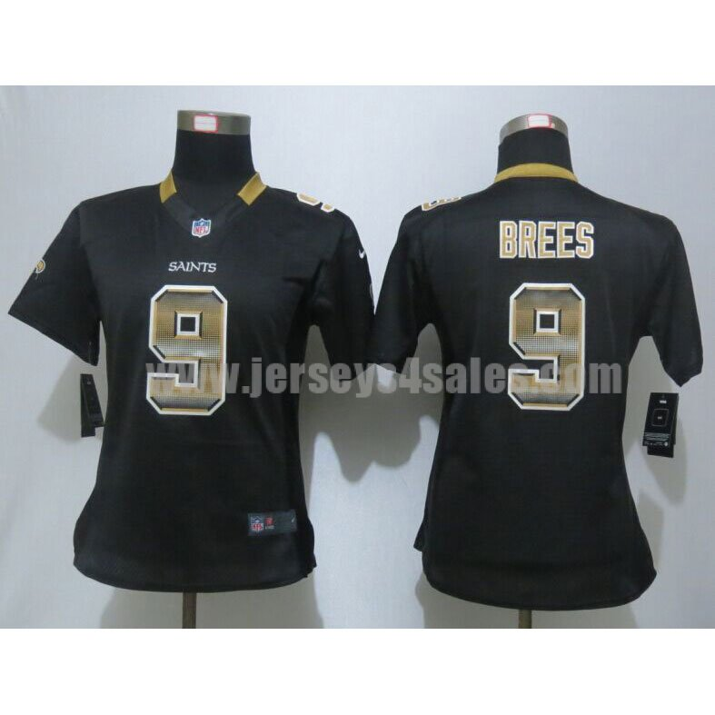 Women's New Orleans Saints #9 Drew Brees Black Team Color Stitched Strobe Nike NFL Elite Jersey