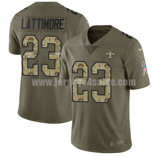 Nike New Orleans Saints #23 Marshon Lattimore Olive/Camo Youth Stitched NFL Limited 2017 Salute to Service Jersey