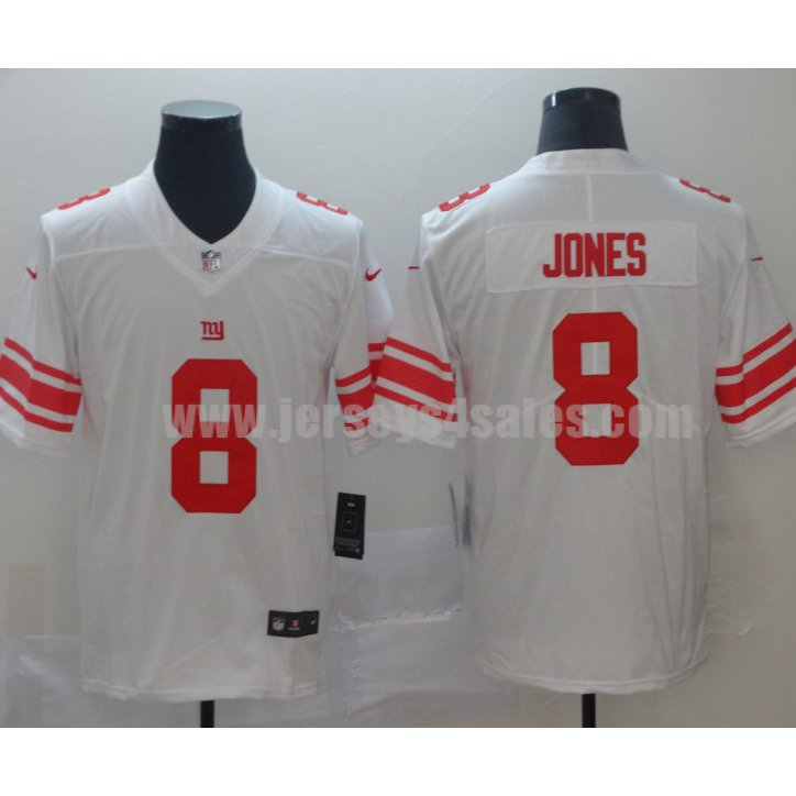 Men's New Nike New York Giants #8 Daniel Jones White Limited Player Jeresy