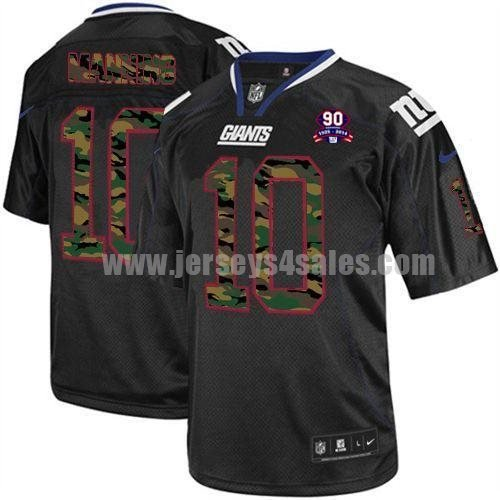 Nike Giants #10 Eli Manning Black With 1925-2014 Season Patch Men's Stitched NFL Elite Camo Fashion Jersey
