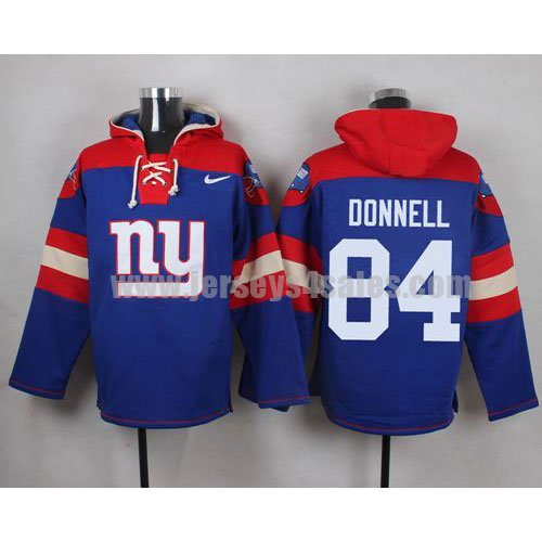 Men's New York Giants #84 Larry Donnell Big Logo Print Lace-Up NFL Hoodie - Royal Blue