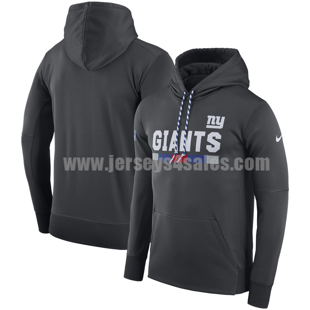 Men's New York Giants Charcoal Nike Sideline Team Name Performance Pullover NFL Hoodie