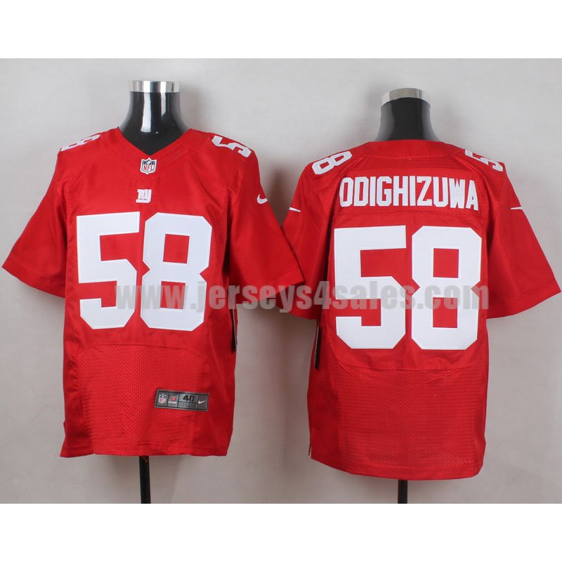 Men's New York Giants #58 Owamagbe Odighizuwa Red Stitched Nike NFL Alternate Elite Jersey