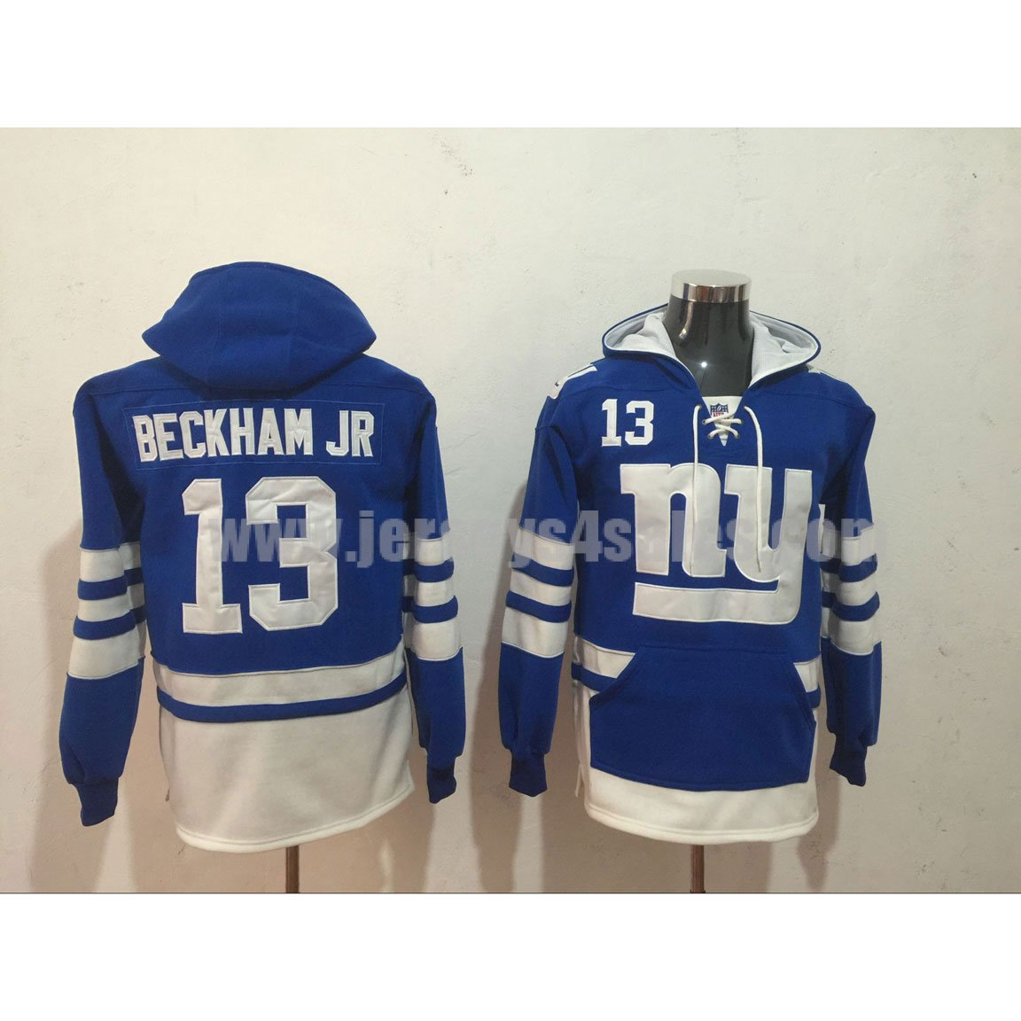 Men's New York Giants #13 Odell Beckham Jr Royal Blue Lacer Heavyweight Pullover NFL Hoodie