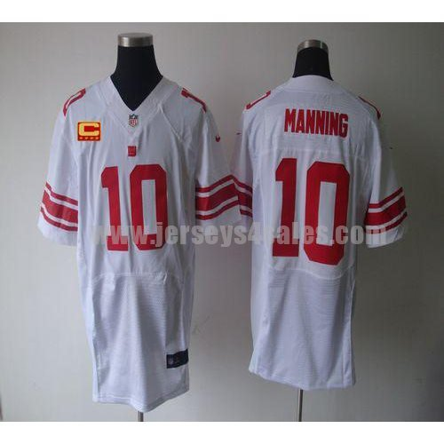 Nike Giants #10 Eli Manning White With C Patch Men's Stitched NFL Elite Jersey