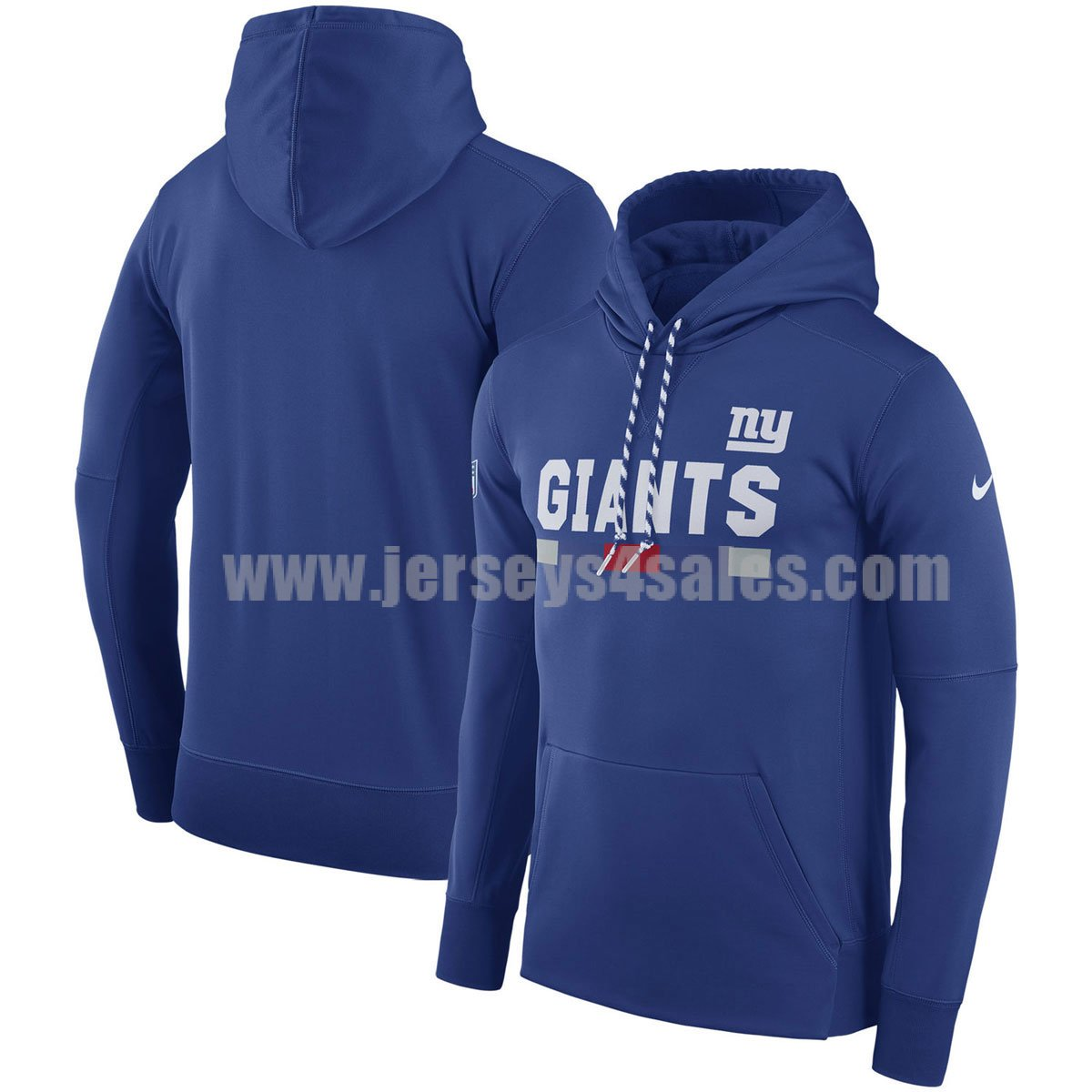 Men's New York Giants Royal Blue Nike Sideline Team Name Performance Pullover NFL Hoodie