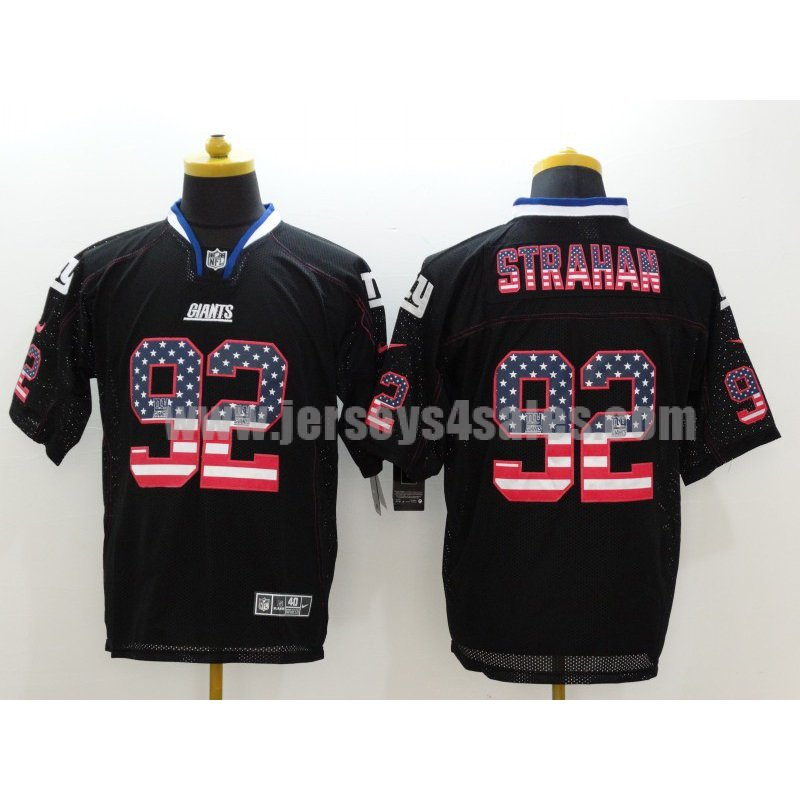 Men's New York Giants #92 Michael Strahan Black USA Flag Fashion Stitched Retired Player Nike NFL Elite Jersey