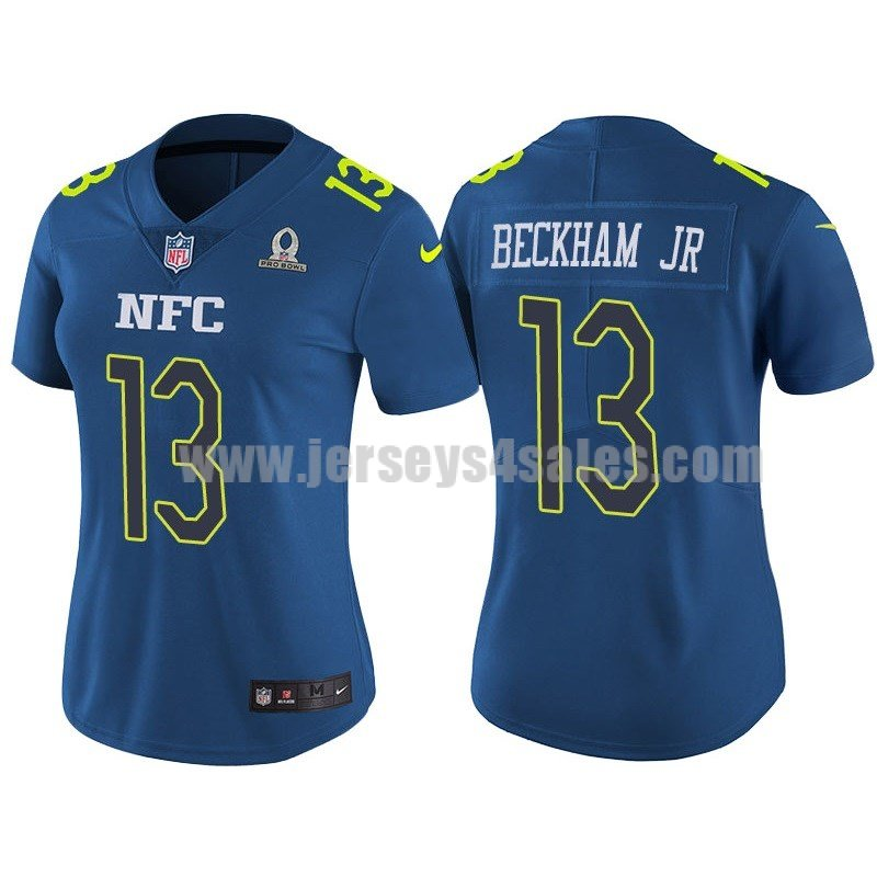 Women's New York Giants #13 Odell Beckham Jr Blue Nike NFL 2017 Pro Bowl NFC Game Jersey