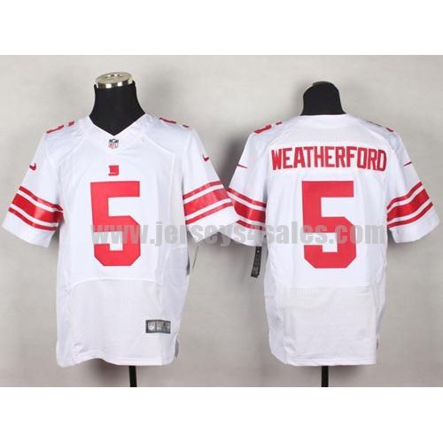Nike Giants #5 Steve Weatherford White Men's Stitched NFL Elite Jersey