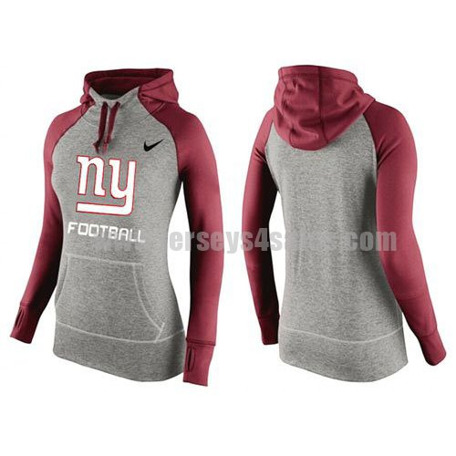 Women's New York Giants Grey/Red All Time Performance NFL Hoodie