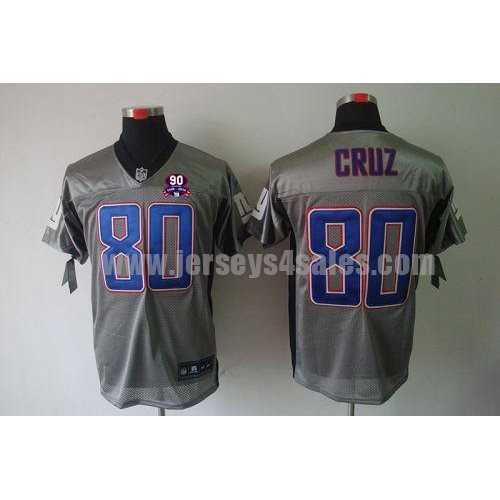 Nike Giants #80 Victor Cruz Grey Shadow With 1925-2014 Season Patch Men's Stitched NFL Elite Jersey