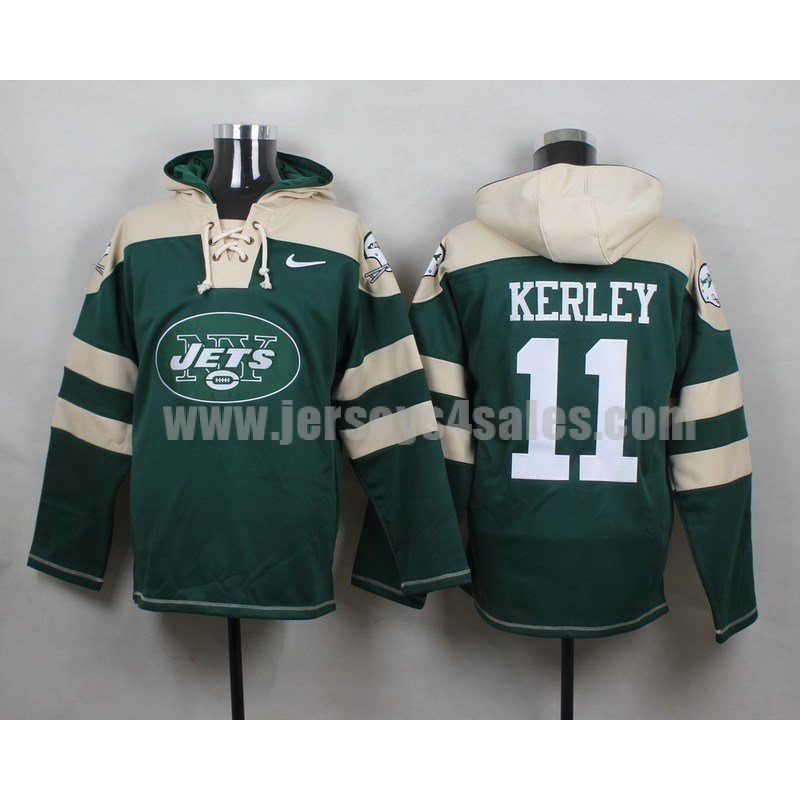 Men's New York Jets #11 Jeremy Kerley Big Log Lace-Up NFL Hoodie - Green